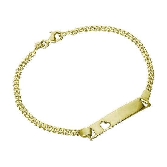 Gold Plated Sterling Silver Engravable ID Bracelet 7.5 Inches