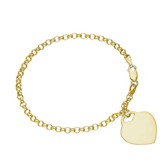 Gold Plated Sterling Silver Engravable Heart 7 Inch Bracelet