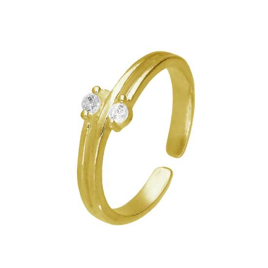 Gold Plated Sterling Silver & Double CZ Adjustable Toe Ring