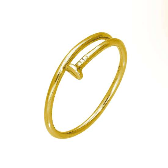Gold Plated Sterling Silver Nail Adjustable Toe Ring