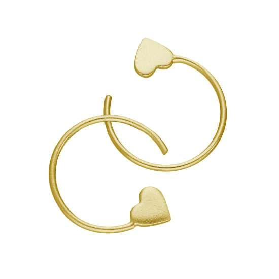 Gold Plated Sterling Silver Heart Pull Through Earrings