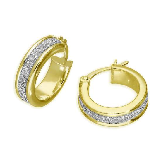 Gold Plated Sterling Silver Frosted 15mm Hoop Earrings