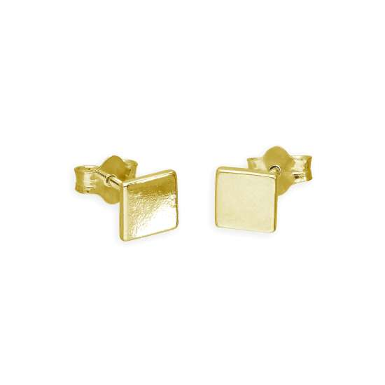 Gold Plated Sterling Silver Flat 5mm Square Stud Earrings