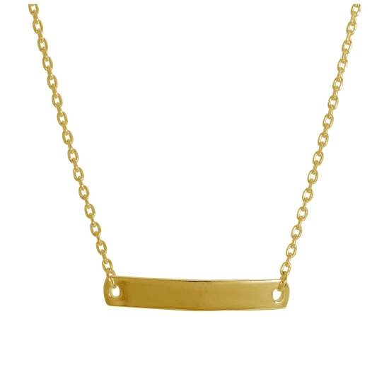 Gold Plated Sterling Silver Engravable Bar 16 Inch Necklace