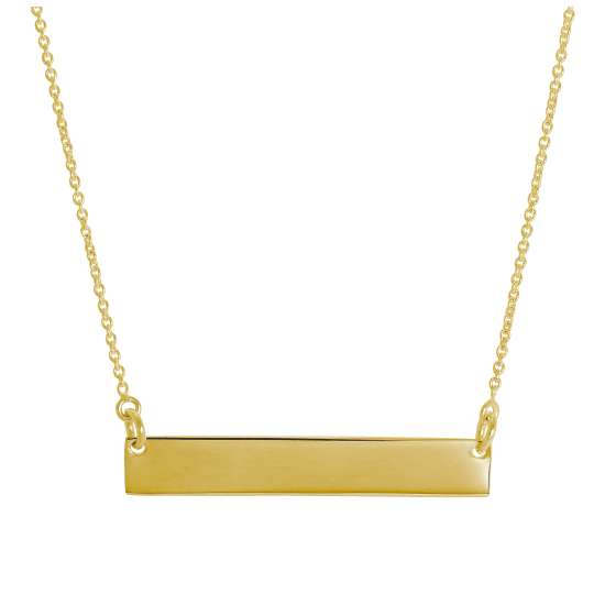 Gold Plated Sterling Silver Engravable Bar Necklace 16 Inch