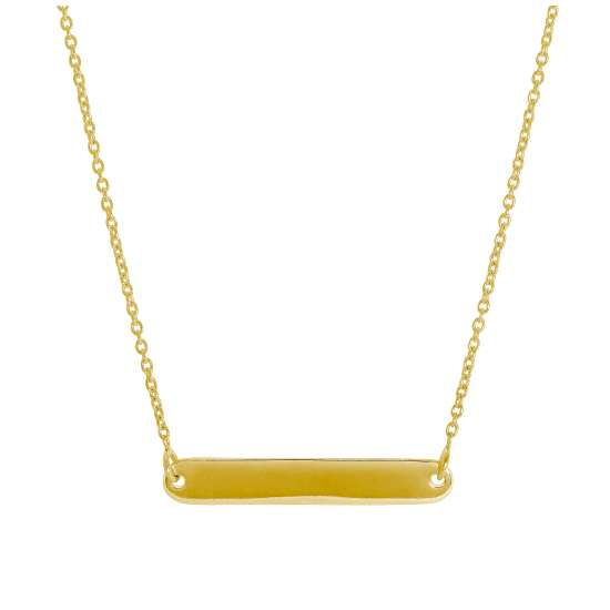 Gold Plated Sterling Silver Engravable Bar 17 Inch Necklace