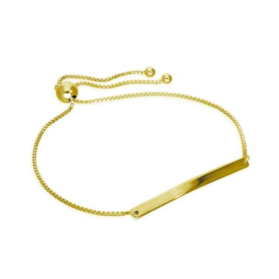 Gold Plated Sterling Silver Engravable Adjustable Bracelet