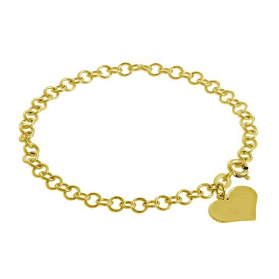 Gold Plated Sterling Silver Engravable Heart Charm Bracelet