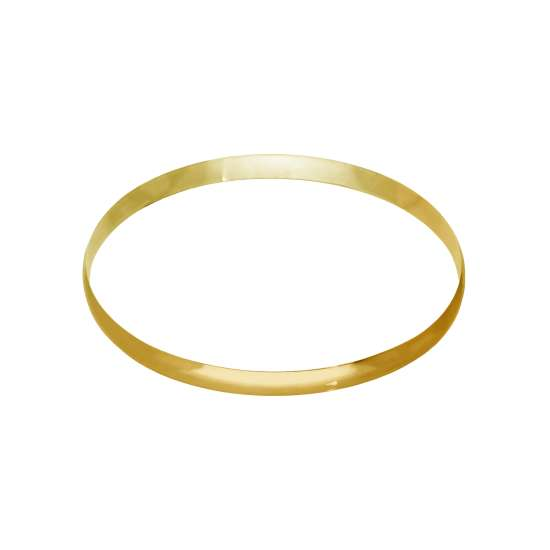 Gold Plated Sterling Silver Plain Round 65mm Bangle