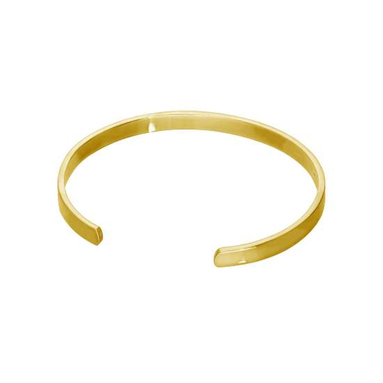 Gold Plated Sterling Silver Engravable Plain 70mm Bangle