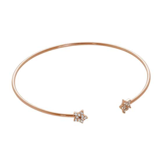 Rose Gold Plated Sterling Silver Star CZ Open Cuff Bangle