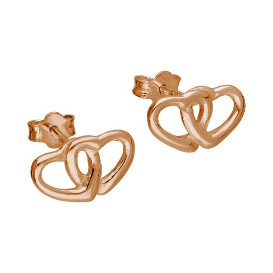 Rose Gold Plated Sterling Silver Double Heart Stud Earrings