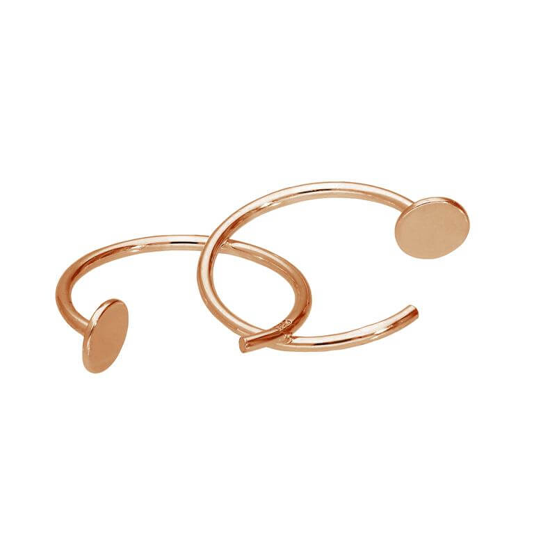 Rose Gold Plated Sterling Silver Round Pull Through Earrings