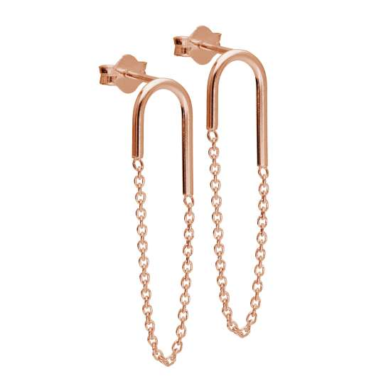 Rose Gold Plated Sterling Silver Curve Bar Chain Stud Earrings