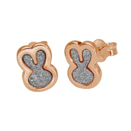 Rose Gold Plated Sterling Silver Frosted Bunny Stud Earrings