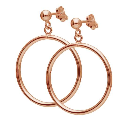 Rose Gold Plated Sterling Silver Circle Ball Stud Drop Earrings