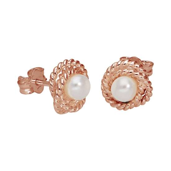 Rose Gold Plated Sterling Silver Beaded Knot Pearl Stud Earrings