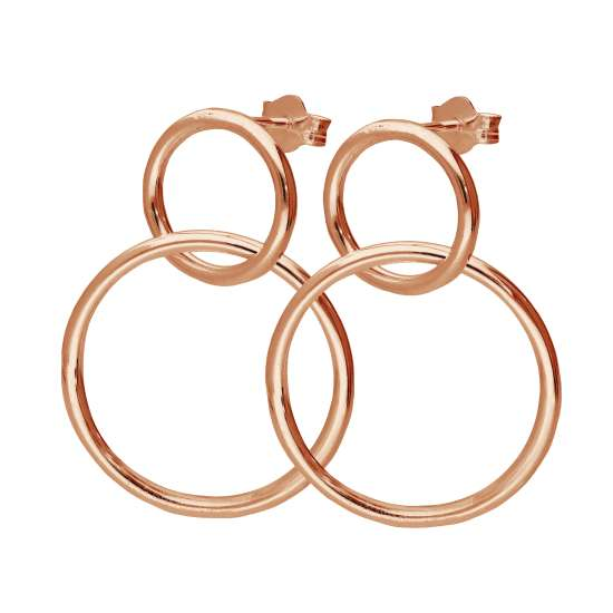 Rose Gold Plated Sterling Silver Infinity Stud Drop Earrings