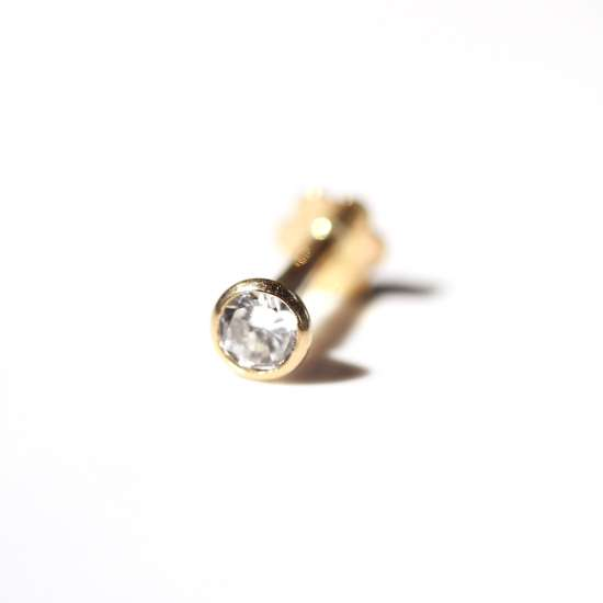 9ct Yellow Gold Round Clear CZ Labret Cartilage Piercing
