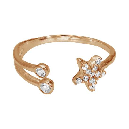 Rose Gold Plated Sterling Silver CZ Star Open Adjustable Ring