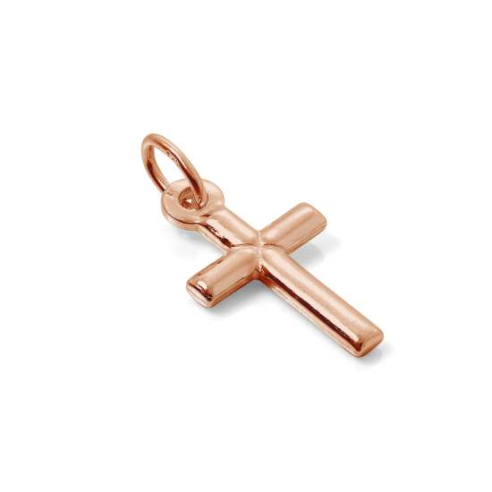 Small Rose Gold Plated Plain Sterling Silver Cross Charm