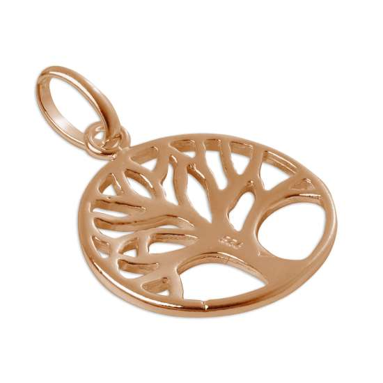 Rose Gold Plated Sterling Silver Filigree Tree Disc Charm
