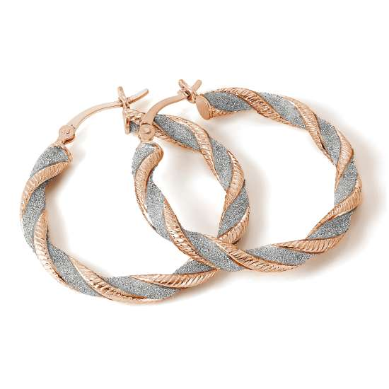 Rose Gold Plated Frosted Sterling Silver Twisted Creole Earrings