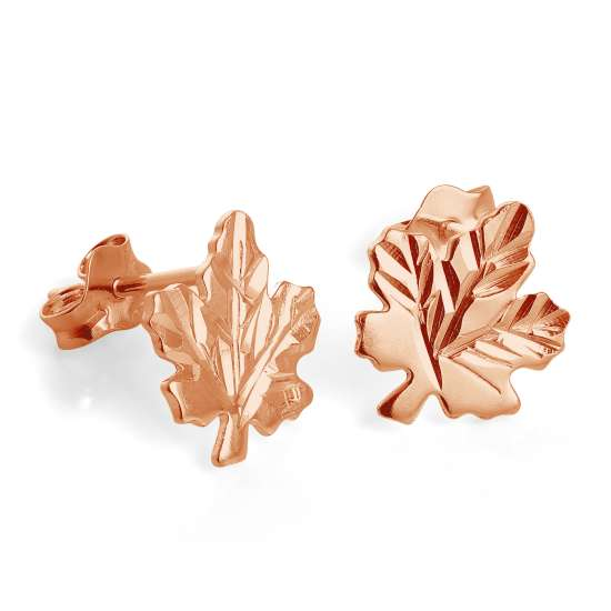 Rose Gold Plated Sterling Silver Maple Leaf Stud Earrings