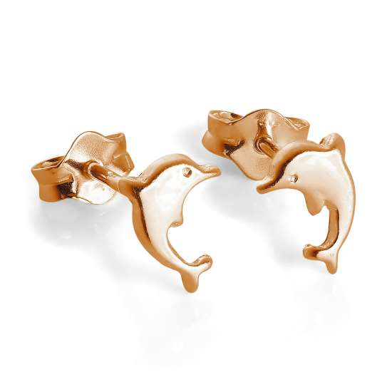 Rose Gold Plated Tiny Sterling Silver Dolphin Stud Earrings