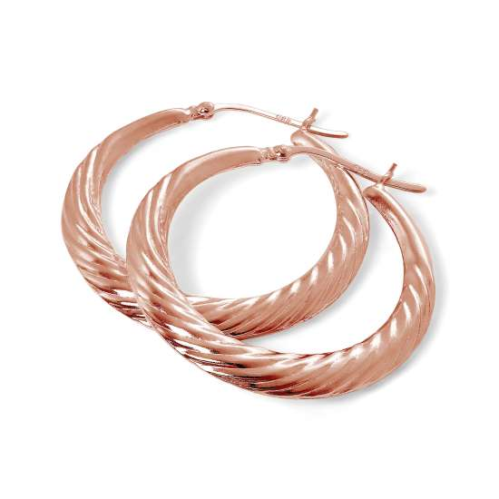 Rose Gold Plated Sterling Silver Twist Creole 36mm Hoop Earrings