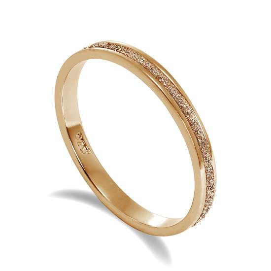 Rose Gold Plated Frosted Sterling Silver Full Eternity Ring Size P