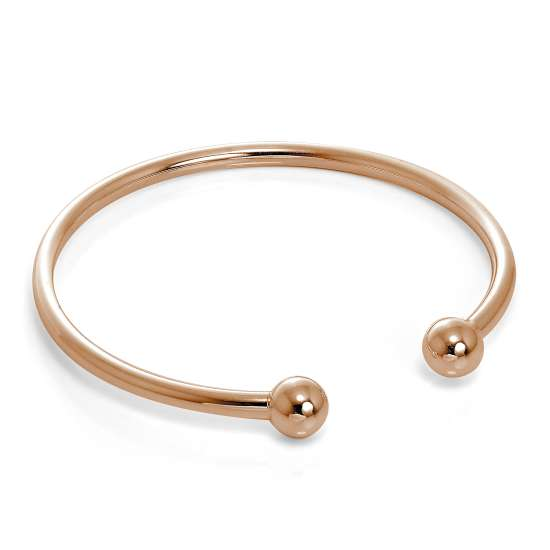 Rose Gold Plated Hollow Sterling Silver Maiden Torque Bangle