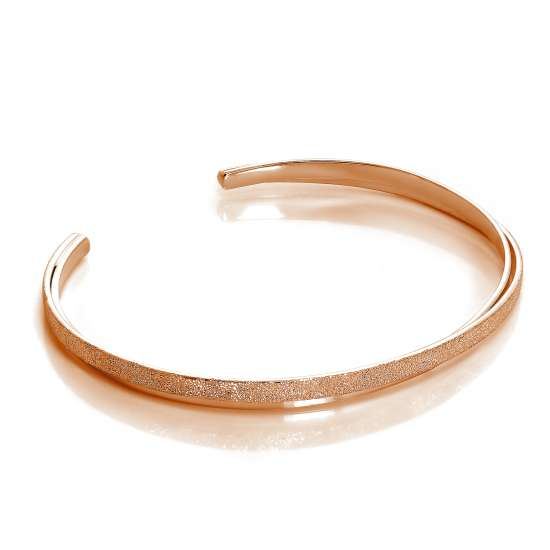 Rose Gold Plated Sterling Silver Double Band Frosted Bangle