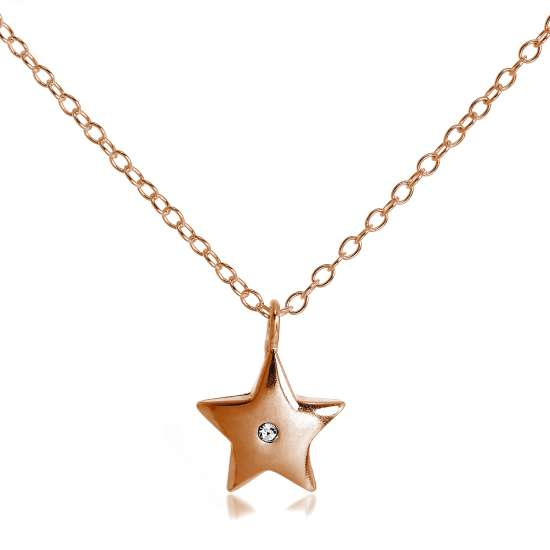 Rose Gold Plated Sterling Silver & CZ Star Necklace 18 Inch