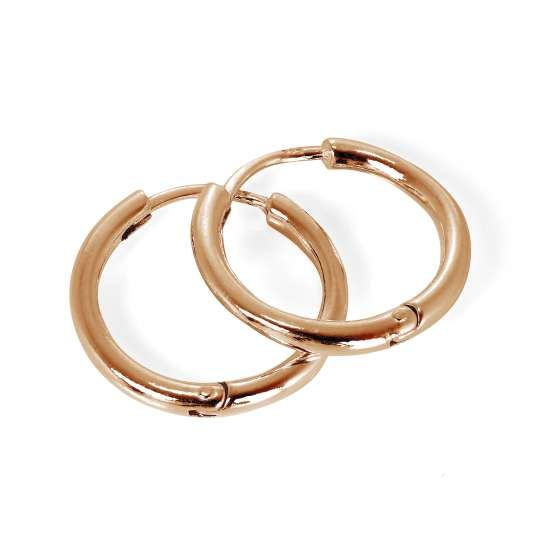 Rose Gold Plated Sterling Silver Hinged 19mm Hoop Earrings
