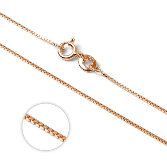Rose Gold Plated Sterling Silver Box Chain 14 Inches