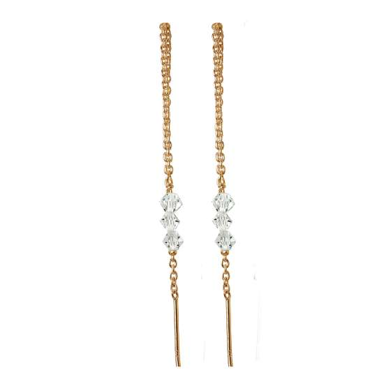 Rose Gold Plated Sterling Silver Triple CZ Pull Through Earrings