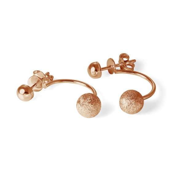 Rose Gold Plated Sterling Silver Half Hoop Stud Earrings