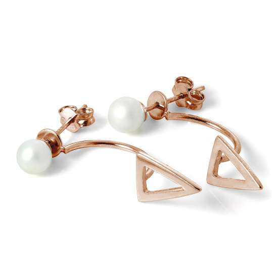 Rose Gold Plated Sterling Silver Pearl Ear Jacket Earrings