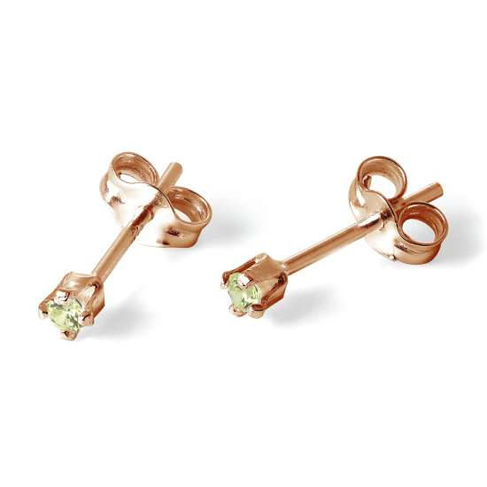 Rose Gold Plated Sterling Silver 2mm Peridot CZ Stud Earrings