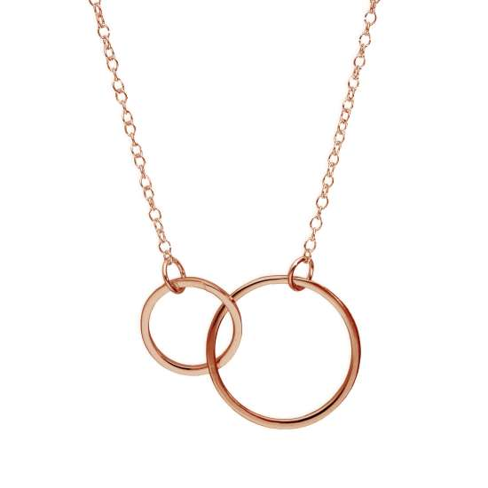 Rose Gold Plated Sterling Silver Karma Circles Necklace 17