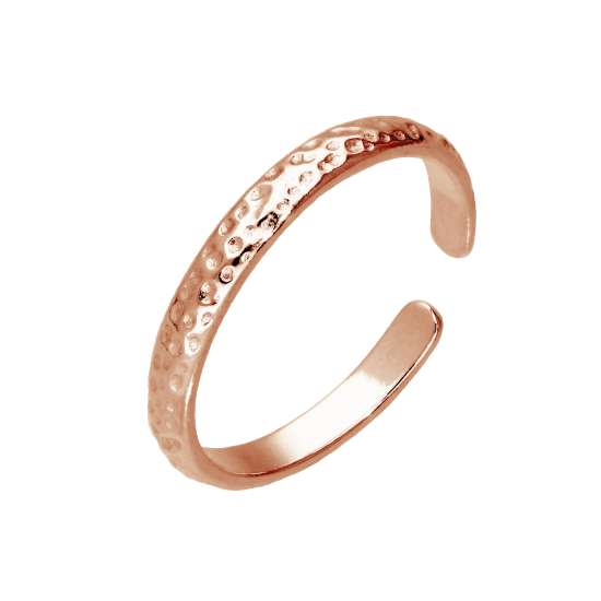 Rose Gold Plated Sterling Silver Hammered Adjustable Toe Ring