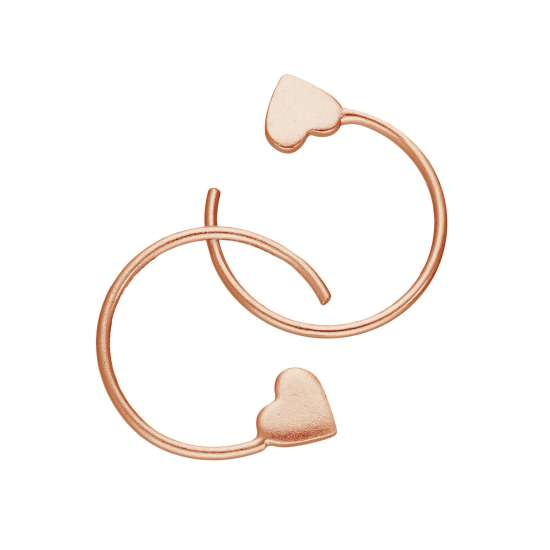 Rose Gold Plated Sterling Silver Heart Pull Through Earrings