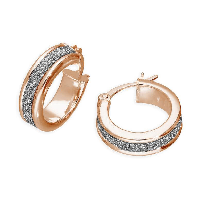 Rose Gold Plated Sterling Silver Frosted 15mm Hoop Earrings
