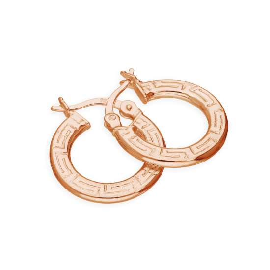 Rose Gold Plated Sterling Silver 16mm Greek Pattern Hoop Earrings