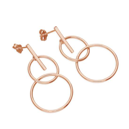 Rose Gold Plated Sterling Silver Infinity Drop Stud Earrings