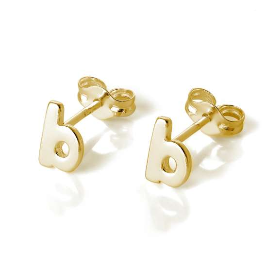Gold Plated Sterling Silver Alphabet Letter B Stud Earrings