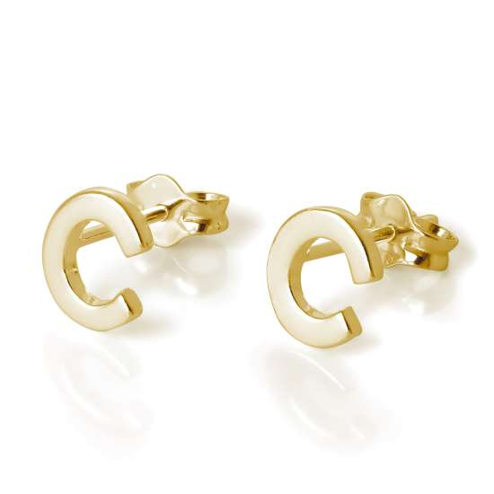 Gold Plated Sterling Silver Alphabet Letter C Stud Earrings