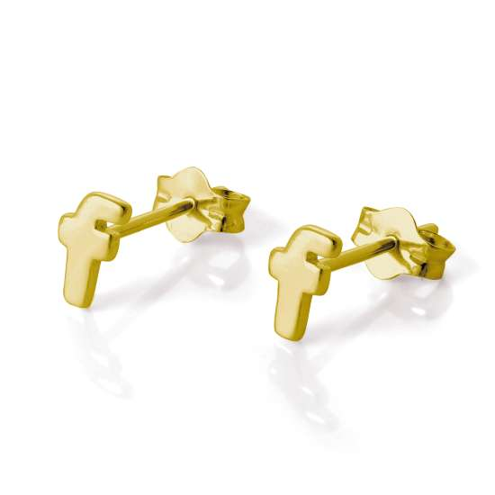 Gold Plated Sterling Silver Alphabet Letter F Stud Earrings