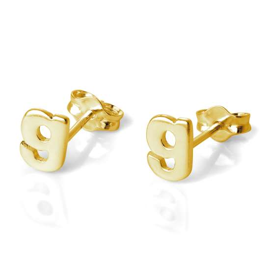 Gold Plated Sterling Silver Alphabet Letter G Stud Earrings
